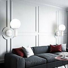 Modern stilvollen Design LED Wandleuchte Kreative Wandlampe innen Loft- Wandbeleuchtung Gipslampe Elegantes schönem Wand Runde weißem Glaskugel Lampenschirm Schatteneffekten Beleuchtung E27 MAX 60W (Weiß)