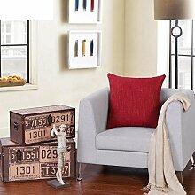 modern und schlicht einfarbig Kissen/Leinen-Kissen/Sofa-Bett Umarmung Kissenbezug-A 55x55cm(22x22inch)VersionB