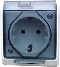 Moderne 1- fach Schuko Aufputz-Steckdose IP 44 weiss mit transparentem Deckel