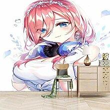 Moderne 3D Fototapete Anime Mädchen mit rosa
