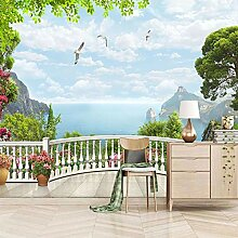 Moderne 3D Fototapete Balkon mit Meerblick 200CM x