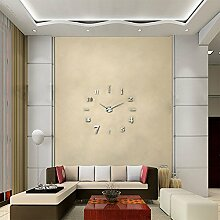 Moderne 3D XXL Wanduhr Ghom Große Designer DIY Deko-Uhr Extra leise Silber
