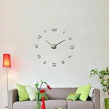 Moderne 3D XXL Wanduhr Urmia Große Designer DIY Deko-Uhr Extra leise Silber