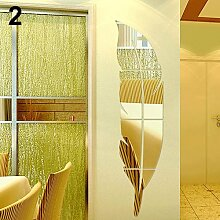 Moderne abnehmbare Feather DIY Acryl Mirror Wall Sticker Home Dekoration, Gold