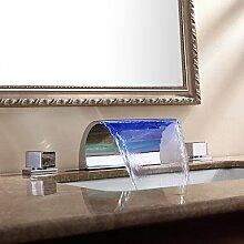 Moderne Arcuate Auslauf Wasserfall LED Waschbecken Wasserhahn