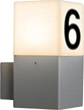 Moderne Außenwandleuchte grau IP44 mit Hausnummer