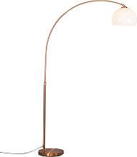 Moderne Bogenlampe Kupfer mit weißem Lampenschirm