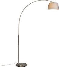 Moderne Bogenlampe Stahl mit grauem Stoffschirm -