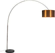 Moderne Bogenlampe Stahl mit Schirm Kupfer 50cm -