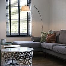 Moderne Bogenlampe Stahl mit weißem Stoffschirm -