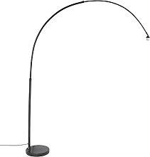 Moderne Bogenlampe XXL schwarz mit Marmorsockel