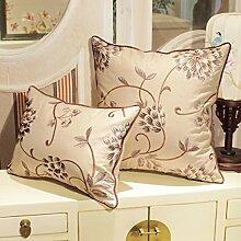 moderne chinesische gestickte Kissen/ Sofakissen/Aus Baumwolle und Leinen Bett Kissen/ Büro des lumbalen Kissen-B 40x60cm(16x24inch)