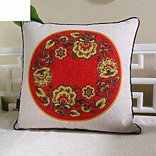 Moderne chinesische Leinenkissen/Bürostühle von pillowcase/Bedruckte Baumwolle Bett Sofakissen-D 55x55cm(22x22inch)VersionB