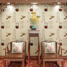 Moderne chinesische Teekanne Tapete Grün PVC Tapeten Relief Wohnzimmer Esszimmer Veranda TV Hintergrund , wallpaper
