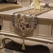 Moderne Couchtische Flagge Kontinentales Deluxe Garten amerikanische Esstisch langen dekorativen Stoffen Tischdecken Tischläufer, 32*180cm Be
