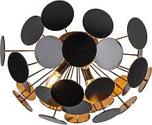 Moderne Deckenleuchte schwarz mit Gold 50 cm