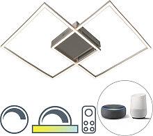 Moderne Deckenleuchte Stahl dimmbar inkl. LED -