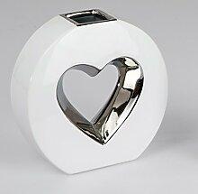 Moderne Deko-Vase Herz weiß silber Eine Deko und Geschenkidee von Formano (20 cm)