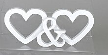 Moderne Dekofigur Herz stehend weiß oder silber 30 cm. Eine schöne Deko und Geschenkidee (weiß)