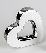 Moderne Dekofigur Herz stehend weiß silber 17 cm. Eine Deko und Geschenkidee von Formano