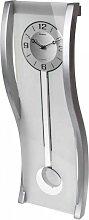 moderne Design Wanduhr mit Pendel aus Glas L. 58cm B. 20cm silber Formano (69,00 EUR / Stück)