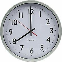 Moderne Design-Wanduhr Weiß Silber / 30 cm groß / Quarz-Uhrwerk analog / Großes und gut lesbares Ziffernblatt / Kinderzimmer Küchen-Zimmer Büro Arbeitszimmer Wohnzimmer / 100% Geld-zurück-Garantie