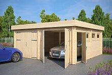 Moderne Doppelgarage aus Holz mit Flachdach,