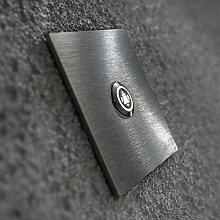Moderne Edelstahl LED-Türklingel grob geschliffen V2A Quadratisch 90x90x3mm weiß LED Beleuchtet Symbol Glocke Klingelsymbol Klingelplatte Metzler-Trade®