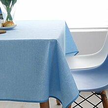 Moderne einfache tischdecke familien-tisch tuch leinen tisch tuch tischtuch-tuch waschbar wasserdicht.blue-blau 120x120cm(47x47inch)