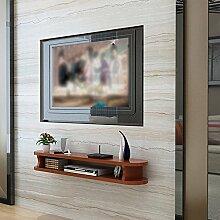 Moderne einfache TV-Schrank Wohnzimmer Wand Wanddekoration Rahmen ovalen TV-Wand-Set Top-Box Wandregal ( Farbe : Teak )