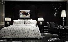Moderne extrathick Vlies Europäische minimalistische Farbe Luxus Tapete, Rolle für Wohnzimmer Schlafzimmer TV Hintergrund Wand 0,53m (52,8cm) * 10Mio. (32,8') M = 5.3sqm (M³), Only the wallpaper, Beautiful black 60018