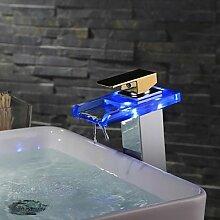 Moderne Farbwechsel LED-Chrome-Finish Gold Griff Wasserfall Waschbecken Wasserhahn