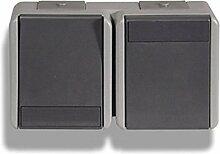 Moderne Feuchtraum Doppeltfunktion Lichtschalter + Steckdose IP44 16A+10AX250V~BV