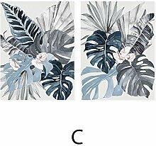 Moderne florale tropische blaue Palmblatt Leinwand