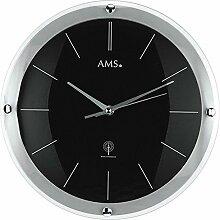 moderne Funkuhr von AMS Designer Wanduhr Schwarz ausgefallene Wanduhren Funk