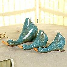 Moderne garten Ente, drei Ablagen Regal Stück kreative partition Dekoration Persönlichkeit Kühlschrank aquarium Dekoration, Blaue ente Anzug