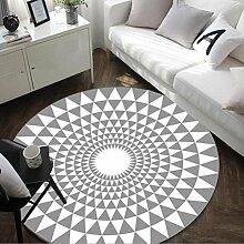 Moderne Geometrie Teppich Schwarz Weiß Runde Teppich Teppiche für Wohnzimmer Tapete Yuga Mats Tapis, grau, 100 cm