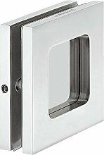 Moderne Glastürgriff Edelstahl poliert Griffmuschel zum Schrauben Muschelgriff rechteckig für Glastüren | Modell H8510 | Möbelgriff aus Edelstahl PVD-beschichtet | 70 x 70 x 7 mm | Möbelbeschläge von GedoTec®