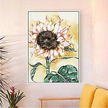 Moderne grüne Pflanze Sonnenblume Poster Blume