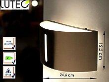 Moderne halbrunde Außenleuchte BONN mit LED Leuchtmittel, Edelstahl, Breite 24,6 cm, IP44