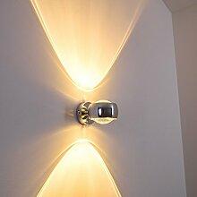 Moderne halbrunde Lampe für die Wand - verchromter Raumfluter aus Metall mit Glas-Linsen - indirektes Licht in Form von zwei Lichtkegeln - LED oder Halogen-Lampen möglich