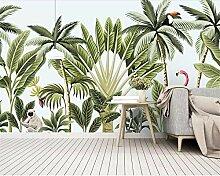 Moderne handgemalte Bananenbaum-Flamingowand