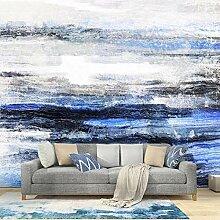 Moderne Handgemalte Blaue Abstrakte