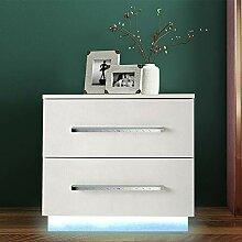 Moderne Hochglanz Kommode Nachttisch LED