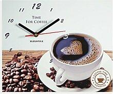 Moderne Küche Wanduhr Kaffee Liebe, rechteckig,