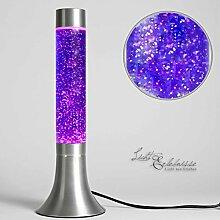 Moderne Lavalampe Glitter Lila Retro Design Glas