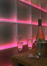 Moderne LED-beleuchtete Glassteinwand für z.B. Wohnzimmer o. Flur (117x117cm) Light my wall®