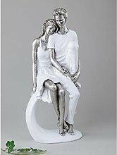 Moderne Liebespaar Skulptur Dekofigur aus Keramik