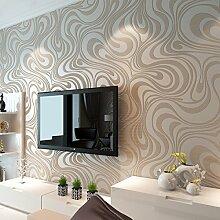 Moderne Luxus Hanmero 5 Rollen Tapeten Abstrakt Kurven Glitzer Vlies 3D Struktur Tapete für Schlafzimmer Wohnzimmer TV Hintergrund Wand Wandmalereien creme weiß, Elfenbeinfarben, 5 rolls