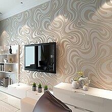 Moderne Luxus-Wandtapete von KeTian, abstrakte 3D-Kurven, Vlies-Beflockungs-Streifen, für Wohnzimmer und Schlafzimmer, Tapetenrolle 0,7 m (B) x 8,4 m (L) = 5,88 m2, Cream&silver&gray, 0.7m (2.29' W)x8.4m(27.56' L)=5.88㎡(63.11sq.ft)